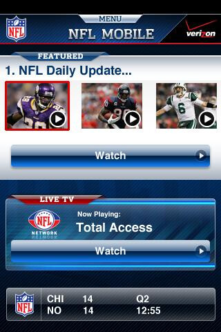 The NFL Mobile app is an exclusive for Verizon's Android smartphones