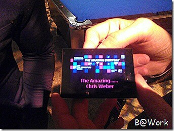 Electronic badge or new Windows Phone device? (L,C), the CES invite (R)