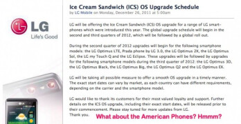 LG expects to roll out Ice Cream Sandwich upgrade to select devices starting in Q2 2012