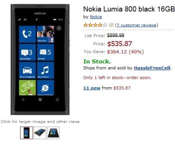 Amazon slowly reduces the price of its unlocked Nokia Lumia 800, it's now at $535.87