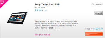 Both the 16GB and 32GB versions of the Sony Tablet S are getting a $100 price cut