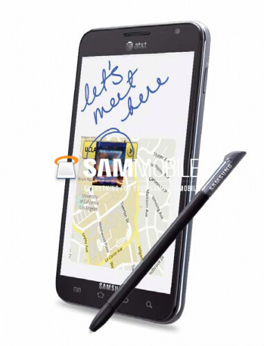 AT&T appears on this rendering of the Samsung GALAXY Note - Rendering of Samsung GALAXY Note shows AT&T branding
