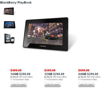 16GB, 32GB, and 64GB versions of the BlackBerry PlayBook are all priced at $299 online