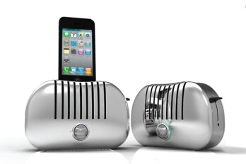 iPhone speaker dock emulates the look of a retro-style toaster, but doesn't actually toast