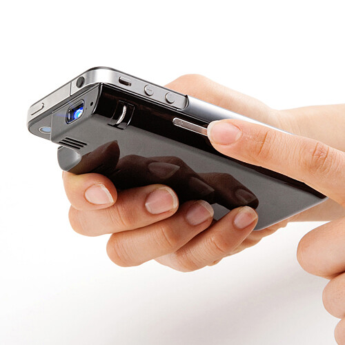 This micro iphone projector brings 65 inch pictures to for Micro projector for ipad
