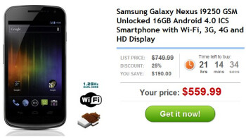 Unlocked GSM-flavored Samsung Galaxy Nexus is priced modestly at $559.99 outright