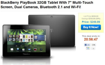 32GB BlackBerry PlayBook is being sold at $249.99 for one day only