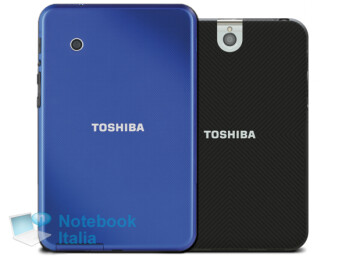 A yet-unannounced, budget-friendly tablet from Toshiba, next to the Toshiba Thrive 7 (in black)