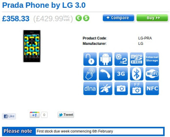 Another UK retailer is set to offer the LG Prada 3.0 in February, priced at $662