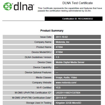 The Motorola DROID 4 has its DLNA Certification