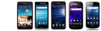 Galaxy Note vs Skyrocket HD vs Exhilarate vs Burst vs Xperia ion: specs comparison