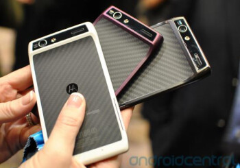 The Motorola DROID RAZR in black, white and purple