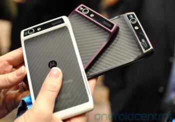 The Motorola DROID RAZR in black, white and purple