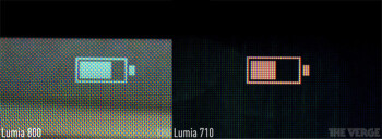 Examples of the PenTile display on Nokia's Lumia 710 and Lumia 800 phones