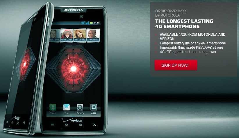 DROID RAZR MAXX releasing on Jan 26