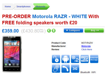 With your pre-order of the white Motorola RAZR from Clove (L) comes a free set of folding speakers (R)
