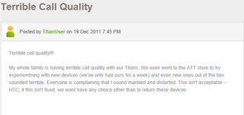 HTC Titan owners are complaining