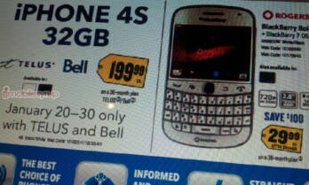 Limited time promotion from Best Buy Canada lowers the price of the 32GB iPhone 4S and BlackBerry Bold 9900
