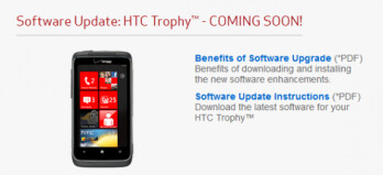 A firmware update is being pushed out for the HTC Trophy by Verizon
