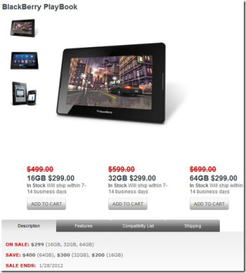 New year sale on the BlackBerry PlayBook has been cut short by a week - set to expire on January 28