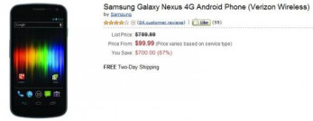 $100 will nab you Verizon's sweet Samsung Galaxy Nexus through Amazon