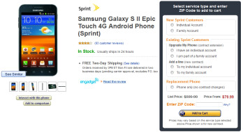 Amazon is offering the Samsung Epic 4G Touch for as low as $80