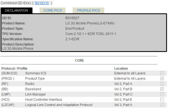 The LG E740 has received its Bluetooth SIG certification (L) and is equipped with IE9 (R)