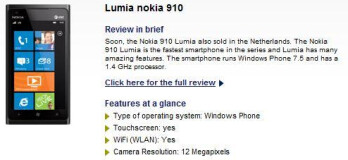Typhone's listing of the Nokia Lumia 910