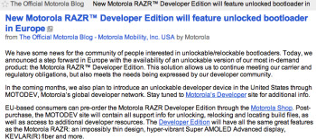 Before being taken down, the Official Motorola Blog discussed the Motorola RAZR DE