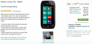 T-Mobile has cut the rice of the Nokia Lumia 710 by 20%
