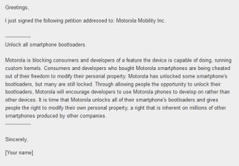 MOSH's online petition