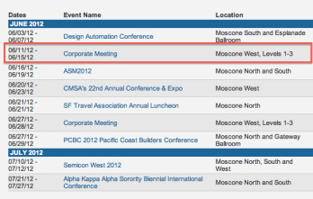 The Moscone Center is booked for mid June
