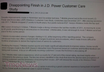 T-Mobile finished fourth in the latest J.D. Powers Customer Care Study