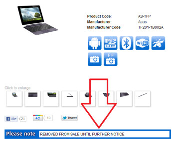 Clove has halted selling the Asus Transformer Prime