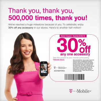 T-Mobile giving 30  off an accessory in honor of 500,000 Facebook fans