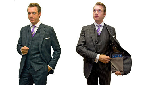 A suit with custom-made iPad pockest