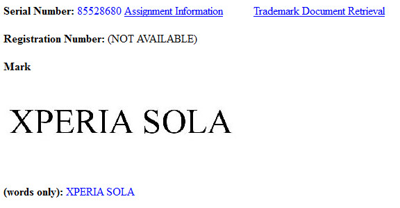 The U.S. application for the trademark - Sony trademarks Xperia Sola name in U.S. and Europe