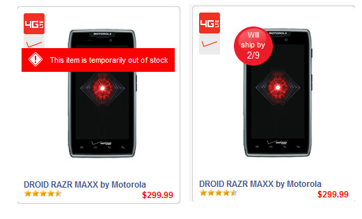 The Motorola DROID RAZR MAXX is back in stock - Motorola DROID RAZR MAXX briefly out of stock on Verizon's website, now will ship February 9th