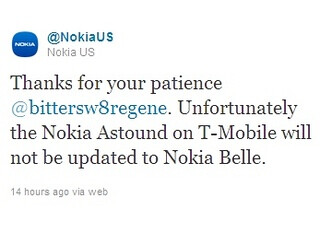 Nokia Astound for T-Mobile will not get updated to Belle