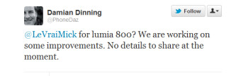 This tweet tells us an update is coming for the Nokia Lumia 800