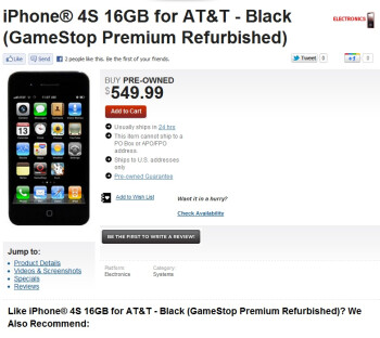 The iPhone 4S is available at GameStop for $550 off-contract