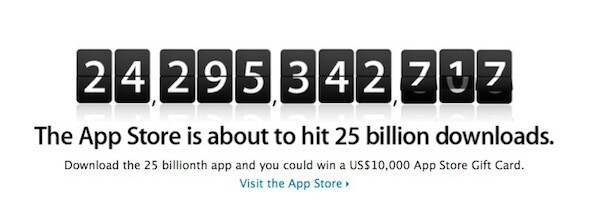 Win a $10,000 gift card for the 25 billionth App Store download - Apple prepares to give away $10,000 gift card for the 25 billionth App Store download