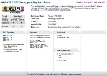 Two other Samsung handsets received theor Wi-Fi certification