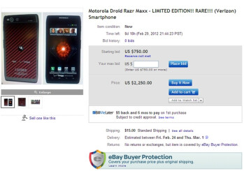 Motorola DROID RAZR MAXX Limited Edition listed on eBay, Buy It Now price stands at $2,250
