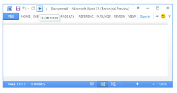 """Microsoft Office 15 to include """"Touch Mode"""" toggle"""