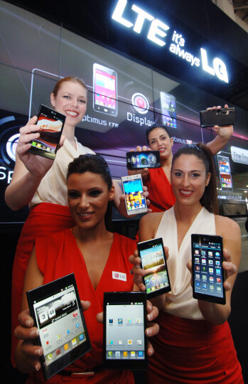 """LG teases its new tagline """"LTE, it's always LG"""" with the trademark girls-plus-phones combination"""