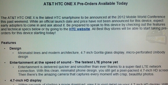 $50 will reserve you an HTC One XL at Best Buy - AT&T's HTC One XL now available for pre-order at Best Buy; no online orders accepted for now