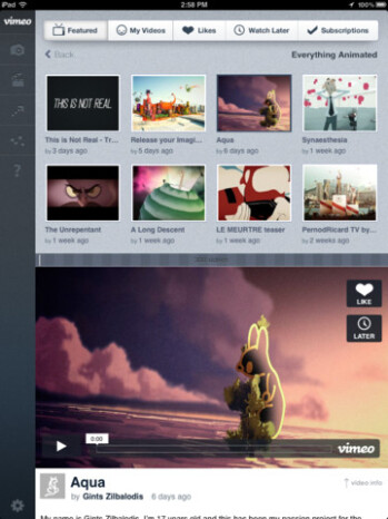 Vimeo brings new iOS app with added iPad support