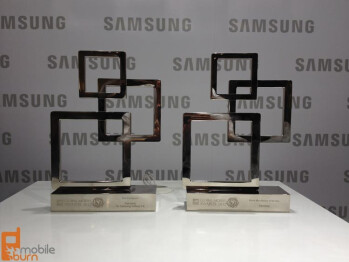 Awards given to Samsung for MWC 2012 Best Smartphone of the year and Best Manufacturer (L), the Samsung Galaxy S II  (R)