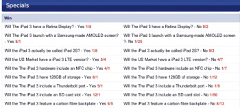 Before being taken down, the Sky Bet site listed these odds for various Apple iPad 3 features